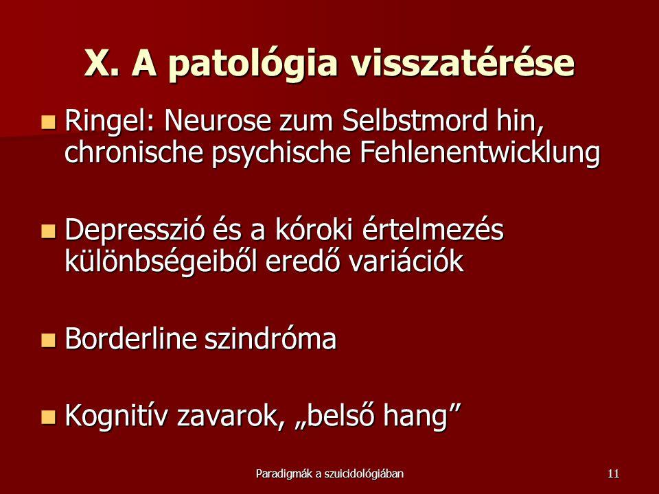 Paradigmák a szuicidológiában11 X. A patológia visszatérése  Ringel: Neurose zum Selbstmord hin, chronische psychische Fehlenentwicklung  Depresszió
