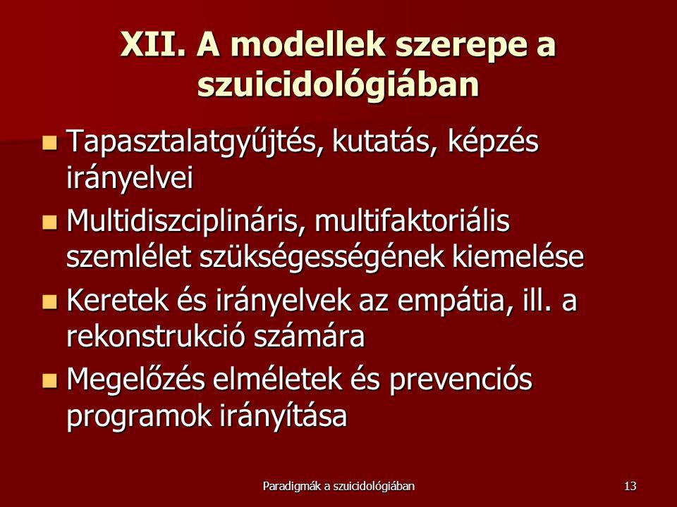 Paradigmák a szuicidológiában13 XII. A modellek szerepe a szuicidológiában  Tapasztalatgyűjtés, kutatás, képzés irányelvei  Multidiszciplináris, mul