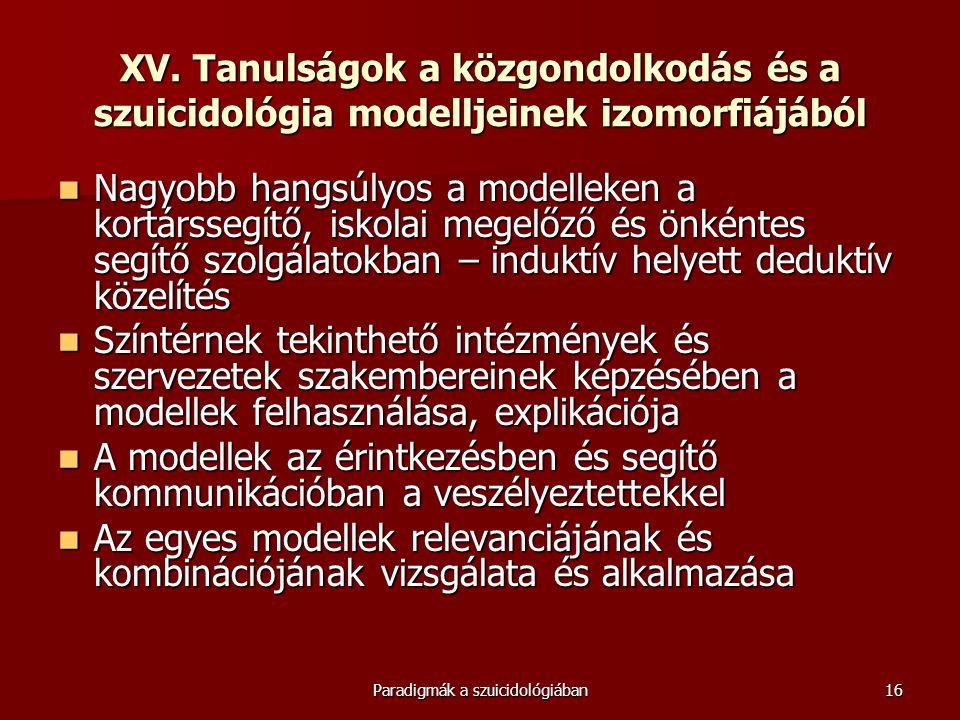 Paradigmák a szuicidológiában16 XV. Tanulságok a közgondolkodás és a szuicidológia modelljeinek izomorfiájából  Nagyobb hangsúlyos a modelleken a kor