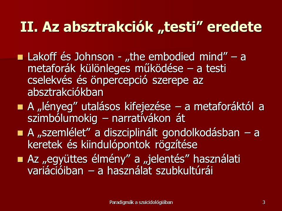 """Paradigmák a szuicidológiában3 II. Az absztrakciók """"testi"""" eredete  Lakoff és Johnson - """"the embodied mind"""" – a metaforák különleges működése – a tes"""