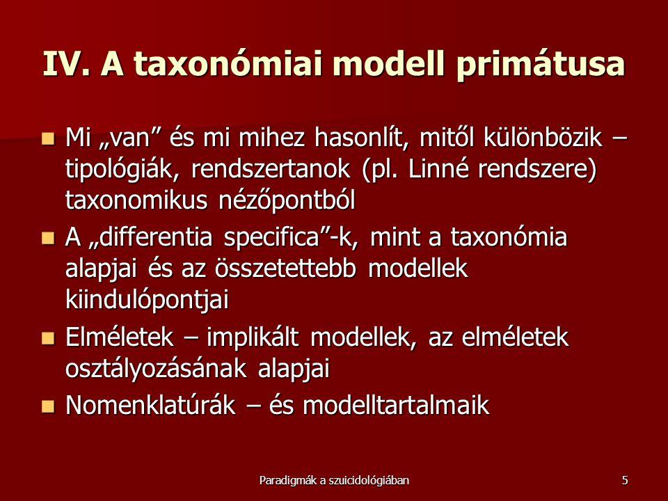 """Paradigmák a szuicidológiában5 IV. A taxonómiai modell primátusa  Mi """"van"""" és mi mihez hasonlít, mitől különbözik – tipológiák, rendszertanok (pl. Li"""