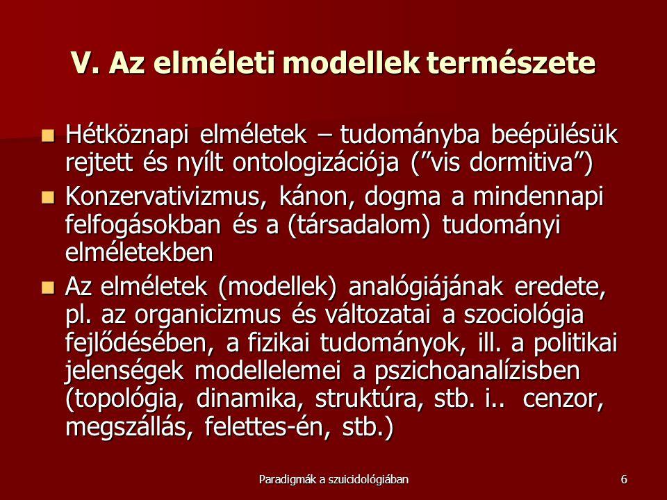 """Paradigmák a szuicidológiában6 V. Az elméleti modellek természete  Hétköznapi elméletek – tudományba beépülésük rejtett és nyílt ontologizációja (""""vi"""