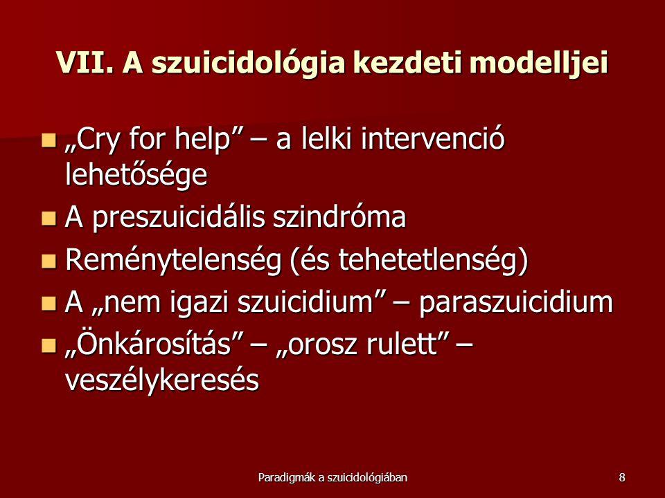 """Paradigmák a szuicidológiában8 VII. A szuicidológia kezdeti modelljei  """"Cry for help"""" – a lelki intervenció lehetősége  A preszuicidális szindróma """