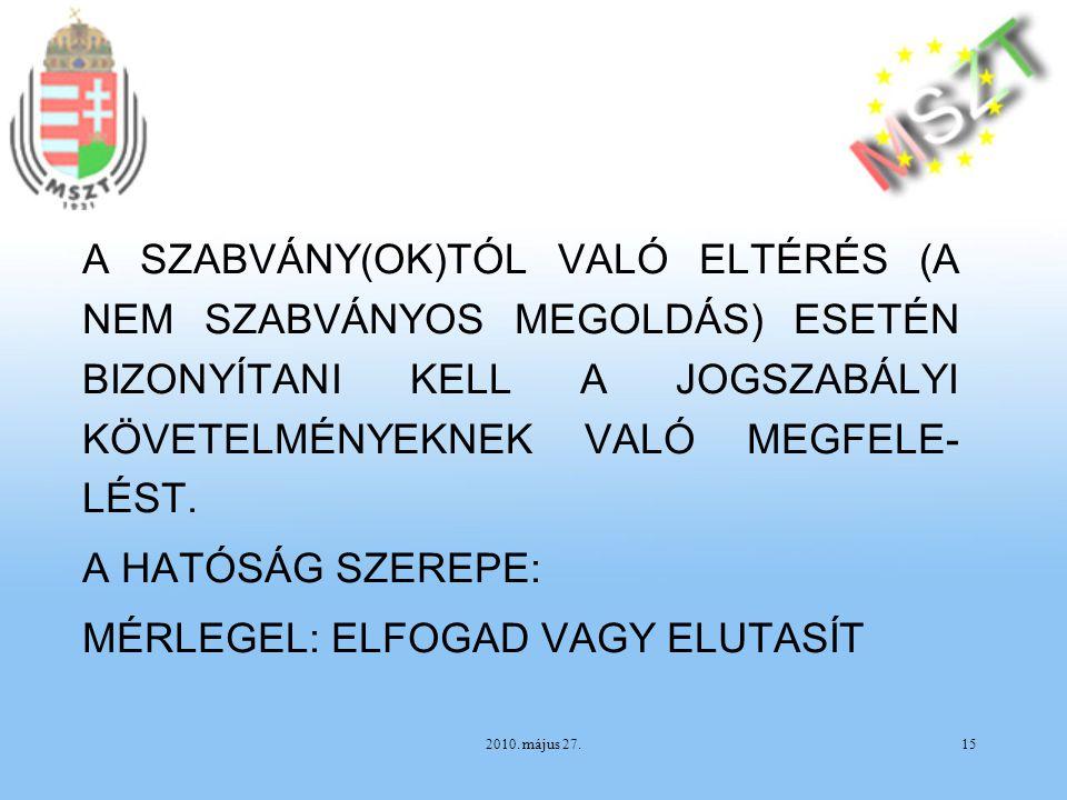 2010. május 27.15 A SZABVÁNY(OK)TÓL VALÓ ELTÉRÉS (A NEM SZABVÁNYOS MEGOLDÁS) ESETÉN BIZONYÍTANI KELL A JOGSZABÁLYI KÖVETELMÉNYEKNEK VALÓ MEGFELE- LÉST