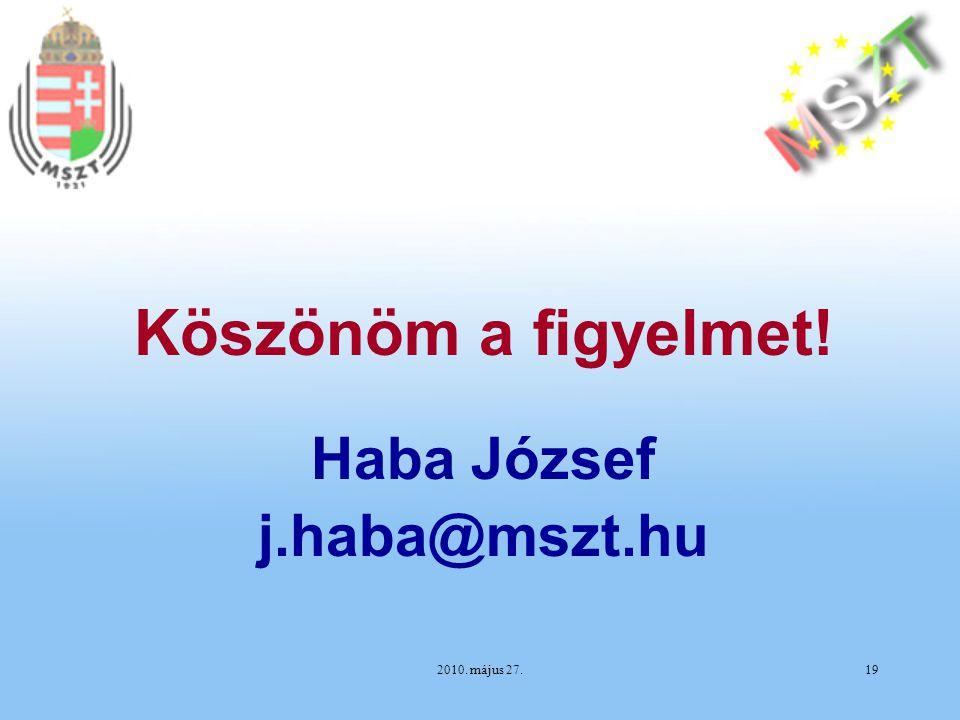 2010. május 27.19 Haba József j.haba@mszt.hu Köszönöm a figyelmet!