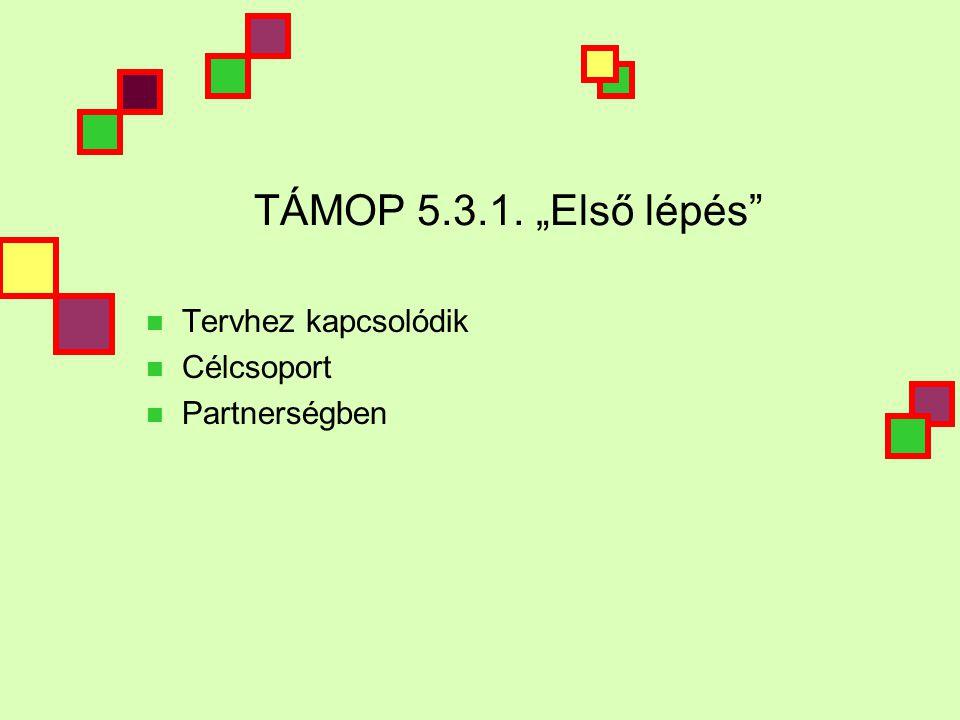 """TÁMOP 5.3.1. """"Első lépés  Tervhez kapcsolódik  Célcsoport  Partnerségben"""