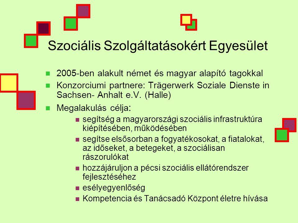 Szociális Szolgáltatásokért Egyesület  2005-ben alakult német és magyar alapító tagokkal  Konzorciumi partnere: Trägerwerk Soziale Dienste in Sachsen- Anhalt e.V.