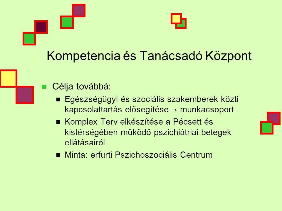 Kompetencia és Tanácsadó Központ  Célja továbbá:  Egészségügyi és szociális szakemberek közti kapcsolattartás elősegítése→ munkacsoport  Komplex Terv elkészítése a Pécsett és kistérségében működő pszichiátriai betegek ellátásairól  Minta: erfurti Pszichoszociális Centrum