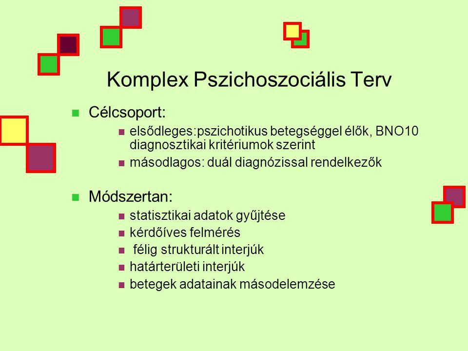Komplex Pszichoszociális Terv  Célcsoport:  elsődleges:pszichotikus betegséggel élők, BNO10 diagnosztikai kritériumok szerint  másodlagos: duál diagnózissal rendelkezők  Módszertan:  statisztikai adatok gyűjtése  kérdőíves felmérés  félig strukturált interjúk  határterületi interjúk  betegek adatainak másodelemzése