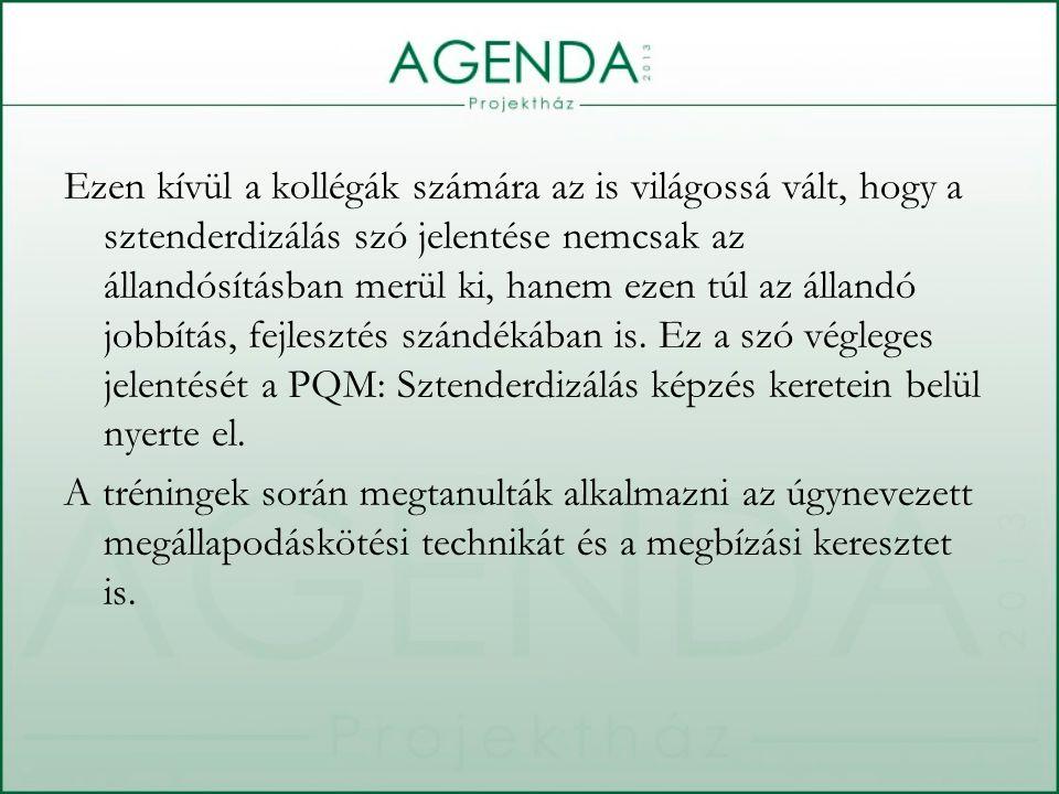Ezen kívül a kollégák számára az is világossá vált, hogy a sztenderdizálás szó jelentése nemcsak az állandósításban merül ki, hanem ezen túl az állandó jobbítás, fejlesztés szándékában is.
