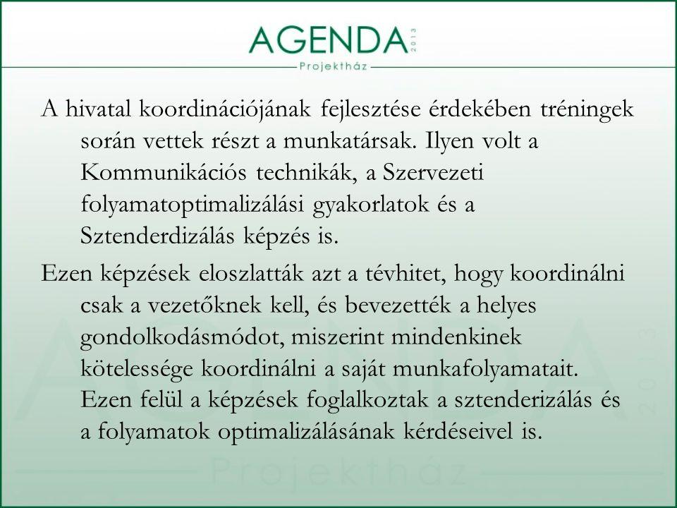 A hivatal koordinációjának fejlesztése érdekében tréningek során vettek részt a munkatársak.