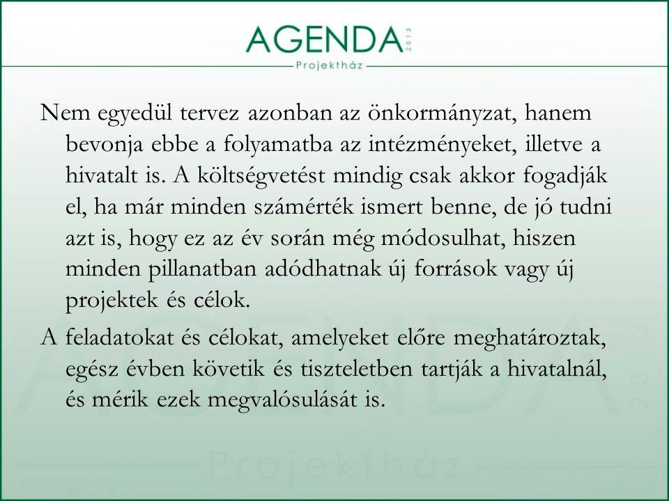 Nem egyedül tervez azonban az önkormányzat, hanem bevonja ebbe a folyamatba az intézményeket, illetve a hivatalt is. A költségvetést mindig csak akkor