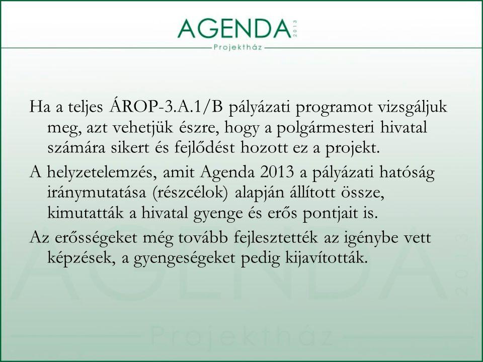 Ha a teljes ÁROP-3.A.1/B pályázati programot vizsgáljuk meg, azt vehetjük észre, hogy a polgármesteri hivatal számára sikert és fejlődést hozott ez a projekt.