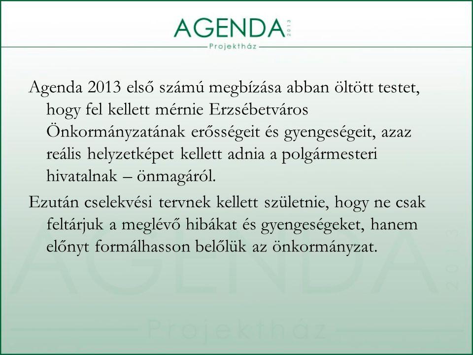 Agenda 2013 első számú megbízása abban öltött testet, hogy fel kellett mérnie Erzsébetváros Önkormányzatának erősségeit és gyengeségeit, azaz reális helyzetképet kellett adnia a polgármesteri hivatalnak – önmagáról.