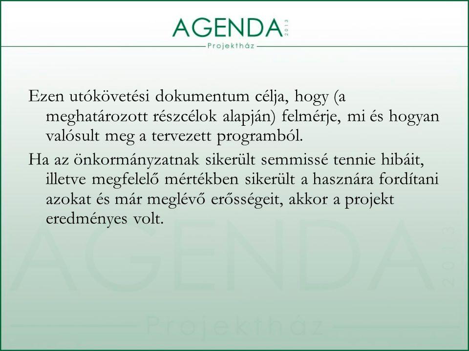 Ezen utókövetési dokumentum célja, hogy (a meghatározott részcélok alapján) felmérje, mi és hogyan valósult meg a tervezett programból. Ha az önkormán