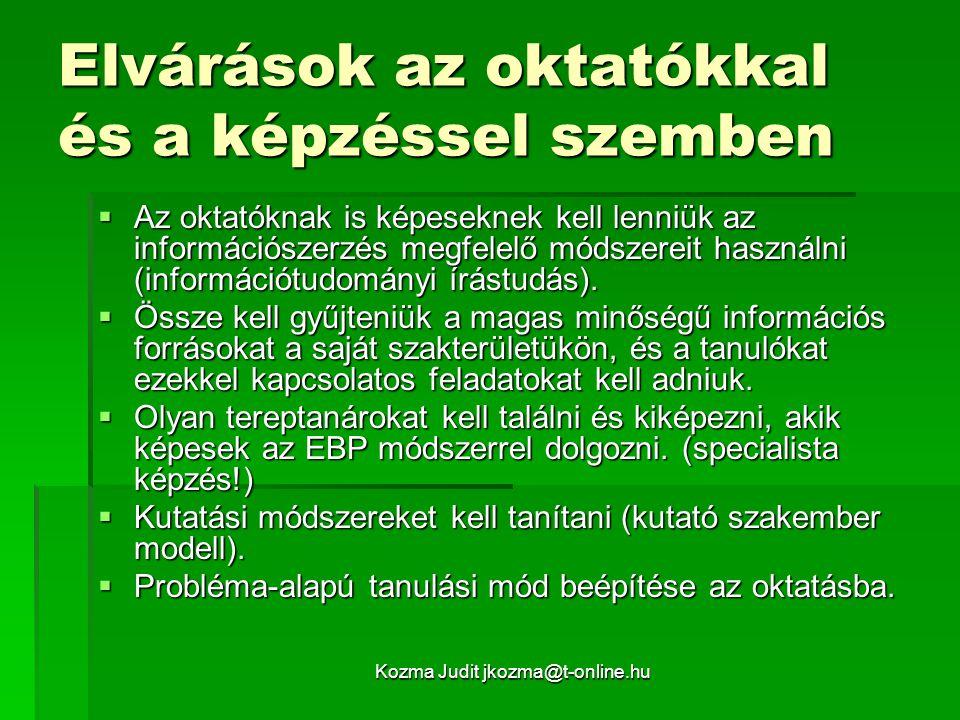 Kozma Judit jkozma@t-online.hu Elvárások az oktatókkal és a képzéssel szemben  Az oktatóknak is képeseknek kell lenniük az információszerzés megfelel