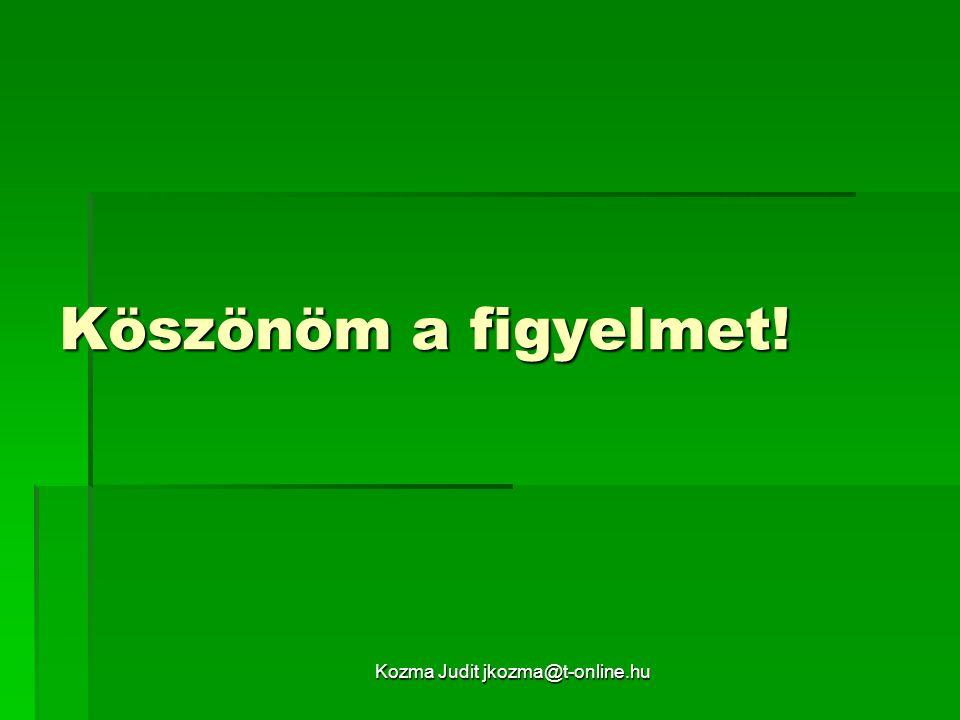Kozma Judit jkozma@t-online.hu Köszönöm a figyelmet!