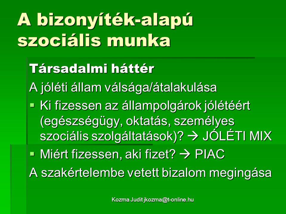 Kozma Judit jkozma@t-online.hu A bizonyíték-alapú szociális munka Társadalmi háttér A jóléti állam válsága/átalakulása  Ki fizessen az állampolgárok jólétéért (egészségügy, oktatás, személyes szociális szolgáltatások).