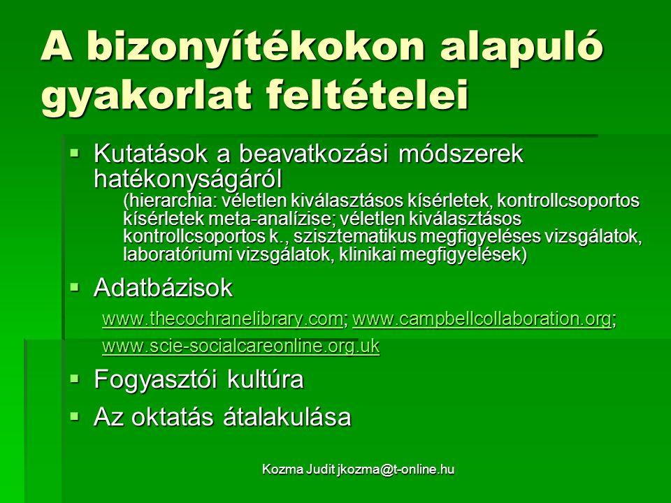 Kozma Judit jkozma@t-online.hu A bizonyítékokon alapuló gyakorlat feltételei  Kutatások a beavatkozási módszerek hatékonyságáról (hierarchia: véletle