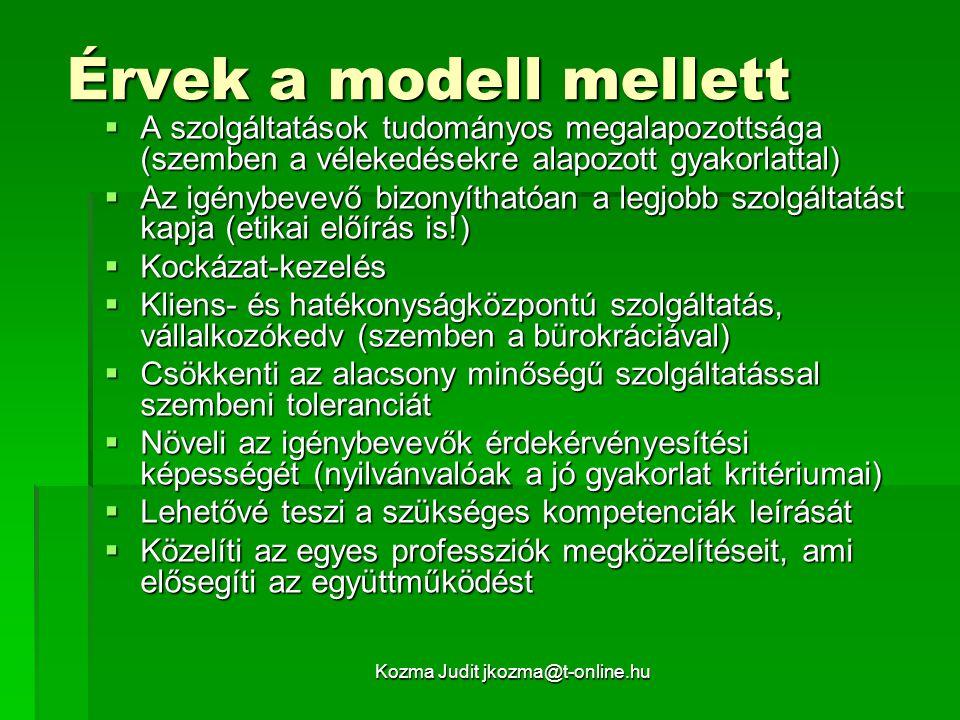 Kozma Judit jkozma@t-online.hu Érvek a modell ellen  Mechanikus, megszünteti a szakember diszkrecionális döntési lehetőségét, elősegíti a deprofesszionalizációt, kiszolgáltatja a szakembert a menedzsernek  A mindennapi szakmai gyakorlatban nem a ráció játssza a főszerepet (pl.