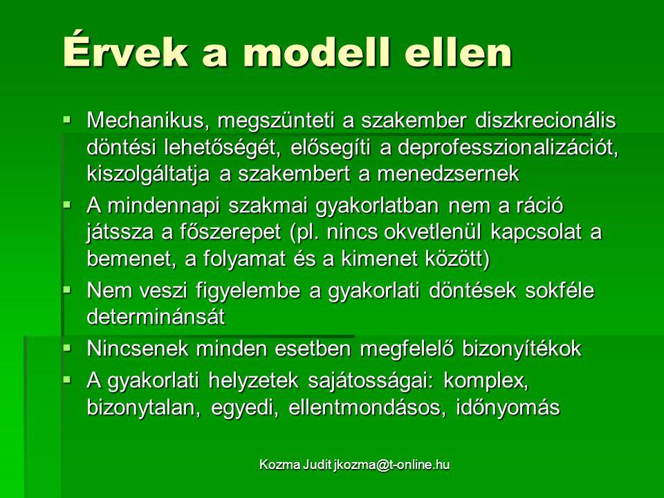 Kozma Judit jkozma@t-online.hu A bizonyíték-alapú gyakorlati modell az oktatásban Szükségessége:  Esetmenedzsment (feltárás, gondozási csomagok)  Projektek (az elvárt eredmények pontos leírása és az elérésük bizonyítása)  Kockázatok kezelése (műhiba ügyek)  Piaci szolgáltatók igényei  Mesterképzések kompetencia-elvárásai