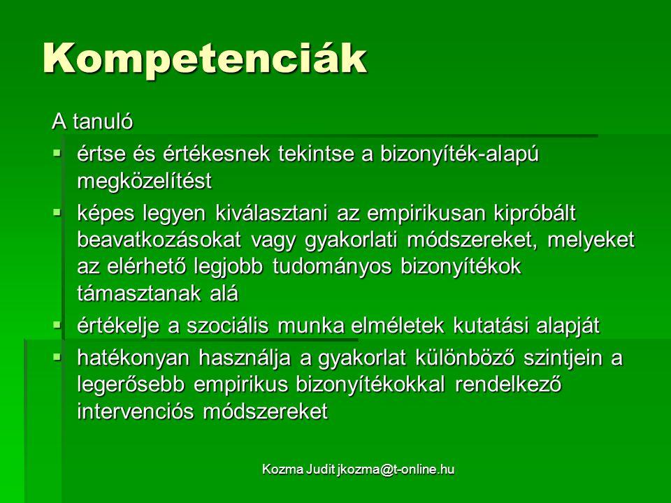 Kozma Judit jkozma@t-online.hu Kompetenciák A tanuló  értse és értékesnek tekintse a bizonyíték-alapú megközelítést  képes legyen kiválasztani az em