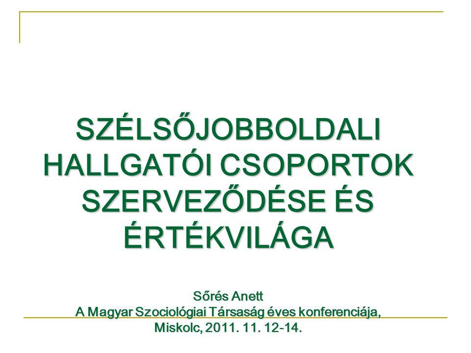 SZÉLSŐJOBBOLDALI HALLGATÓI CSOPORTOK SZERVEZŐDÉSE ÉS ÉRTÉKVILÁGA Sőrés Anett A Magyar Szociológiai Társaság éves konferenciája, Miskolc, 2011.
