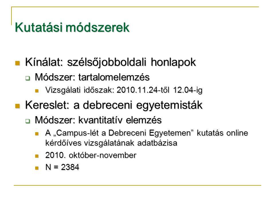 """Kutatási módszerek  Kínálat: szélsőjobboldali honlapok  Módszer: tartalomelemzés  Vizsgálati időszak: 2010.11.24-től 12.04-ig  Kereslet: a debreceni egyetemisták  Módszer: kvantitatív elemzés  A """"Campus-lét a Debreceni Egyetemen kutatás online kérdőíves vizsgálatának adatbázisa  2010."""