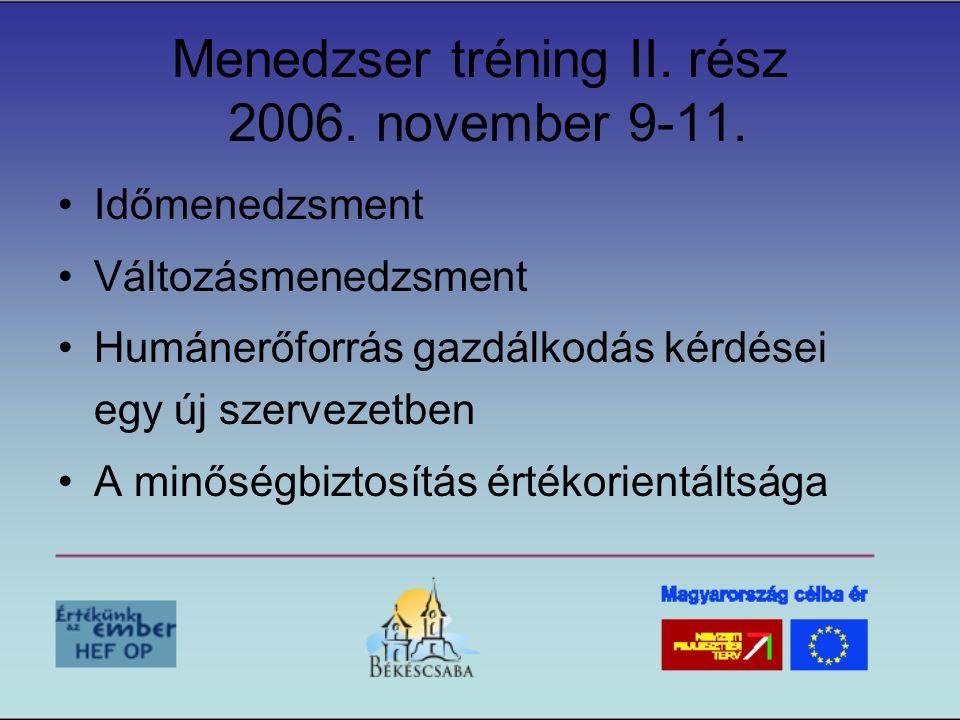 Menedzser tréning II. rész 2006. november 9-11. •Időmenedzsment •Változásmenedzsment •Humánerőforrás gazdálkodás kérdései egy új szervezetben •A minős
