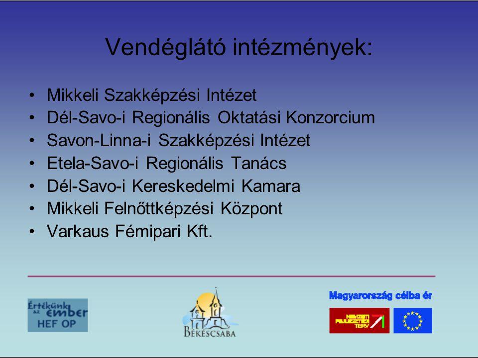 Vendéglátó intézmények: •Mikkeli Szakképzési Intézet •Dél-Savo-i Regionális Oktatási Konzorcium •Savon-Linna-i Szakképzési Intézet •Etela-Savo-i Regionális Tanács •Dél-Savo-i Kereskedelmi Kamara •Mikkeli Felnőttképzési Központ •Varkaus Fémipari Kft.