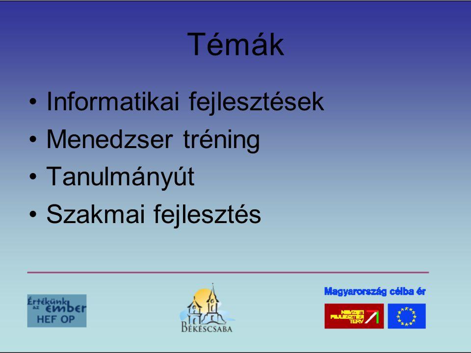 Témák •Informatikai fejlesztések •Menedzser tréning •Tanulmányút •Szakmai fejlesztés