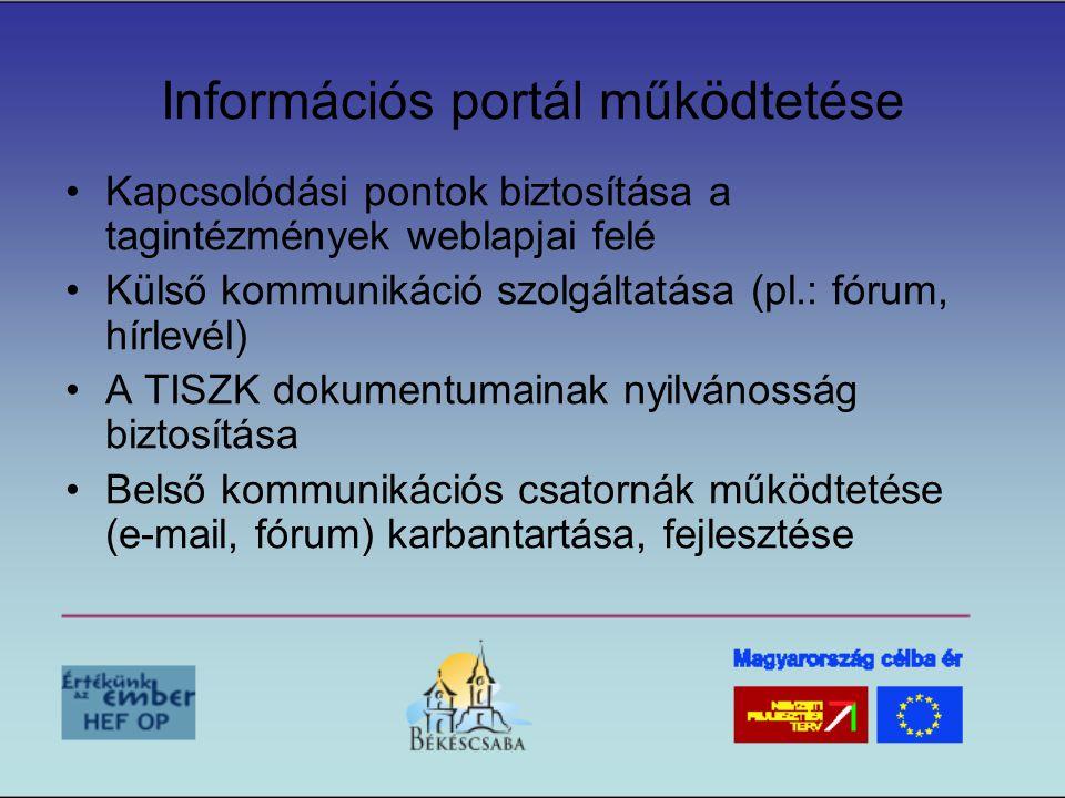 Információs portál működtetése •Kapcsolódási pontok biztosítása a tagintézmények weblapjai felé •Külső kommunikáció szolgáltatása (pl.: fórum, hírlevél) •A TISZK dokumentumainak nyilvánosság biztosítása •Belső kommunikációs csatornák működtetése (e-mail, fórum) karbantartása, fejlesztése