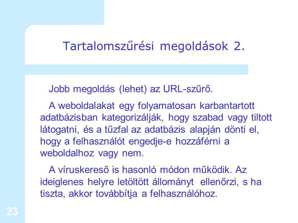 23 Tartalomszűrési megoldások 2. Jobb megoldás (lehet) az URL-szűrő.
