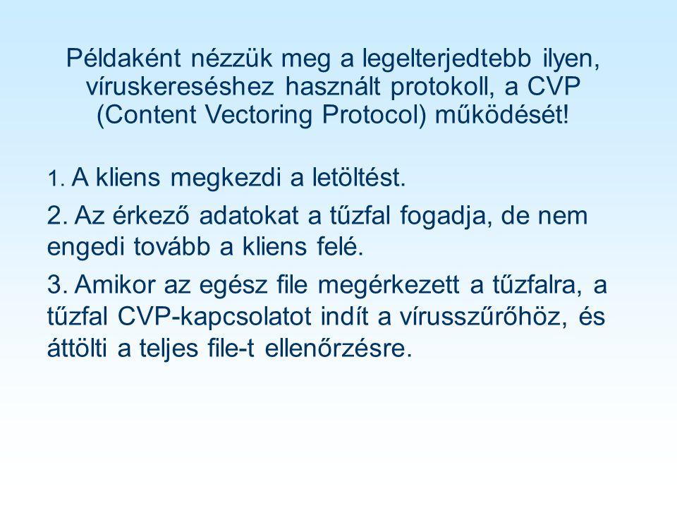 Példaként nézzük meg a legelterjedtebb ilyen, víruskereséshez használt protokoll, a CVP (Content Vectoring Protocol) működését.
