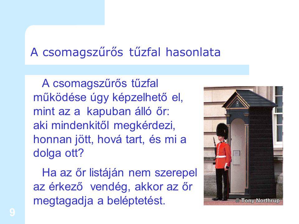 9 A csomagszűrős tűzfal hasonlata A csomagszűrős tűzfal működése úgy képzelhető el, mint az a kapuban álló őr: aki mindenkitől megkérdezi, honnan jött, hová tart, és mi a dolga ott.
