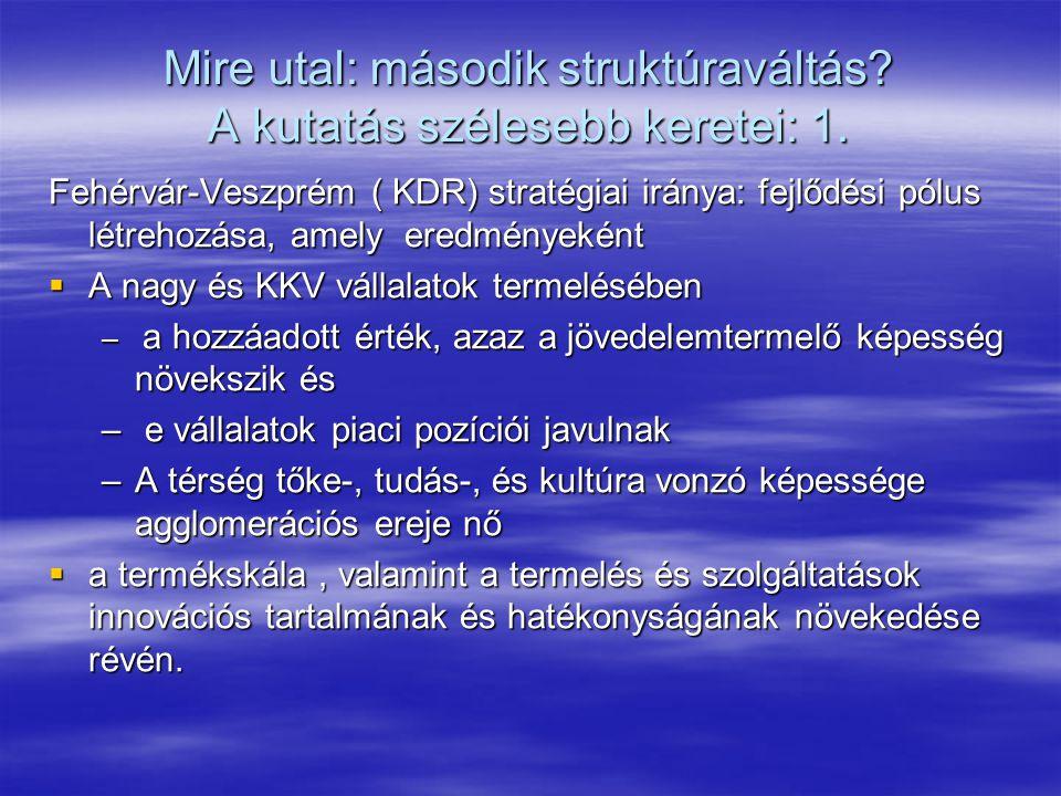 Mire utal: második struktúraváltás? A kutatás szélesebb keretei: 1. Fehérvár-Veszprém ( KDR) stratégiai iránya: fejlődési pólus létrehozása, amely ere
