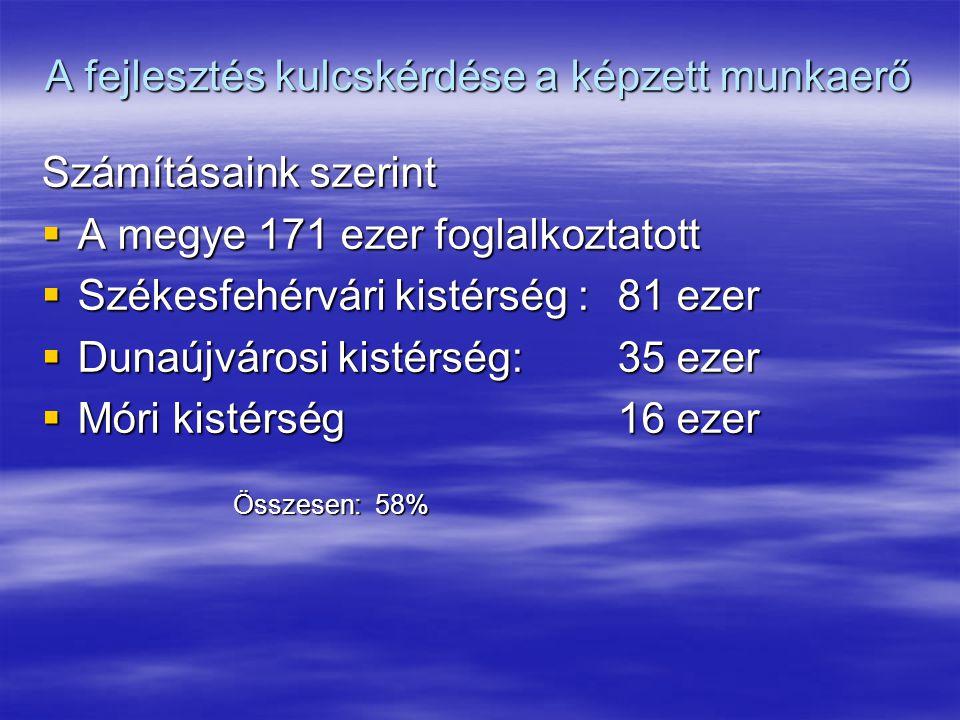 A fejlesztés kulcskérdése a képzett munkaerő Számításaink szerint  A megye 171 ezer foglalkoztatott  Székesfehérvári kistérség : 81 ezer  Dunaújvárosi kistérség: 35 ezer  Móri kistérség 16 ezer Összesen: 58%