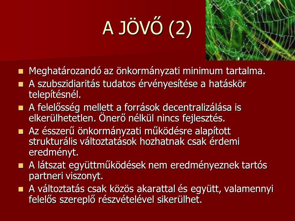 A JÖVŐ (2)  Meghatározandó az önkormányzati minimum tartalma.