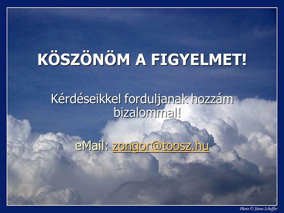 KÖSZÖNÖM A FIGYELMET! Kérdéseikkel forduljanak hozzám bizalommal! eMail: zongor@toosz.hu zongor@toosz.hu