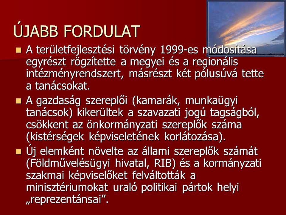 ÚJABB FORDULAT  A területfejlesztési törvény 1999-es módosítása egyrészt rögzítette a megyei és a regionális intézményrendszert, másrészt két pólusúv
