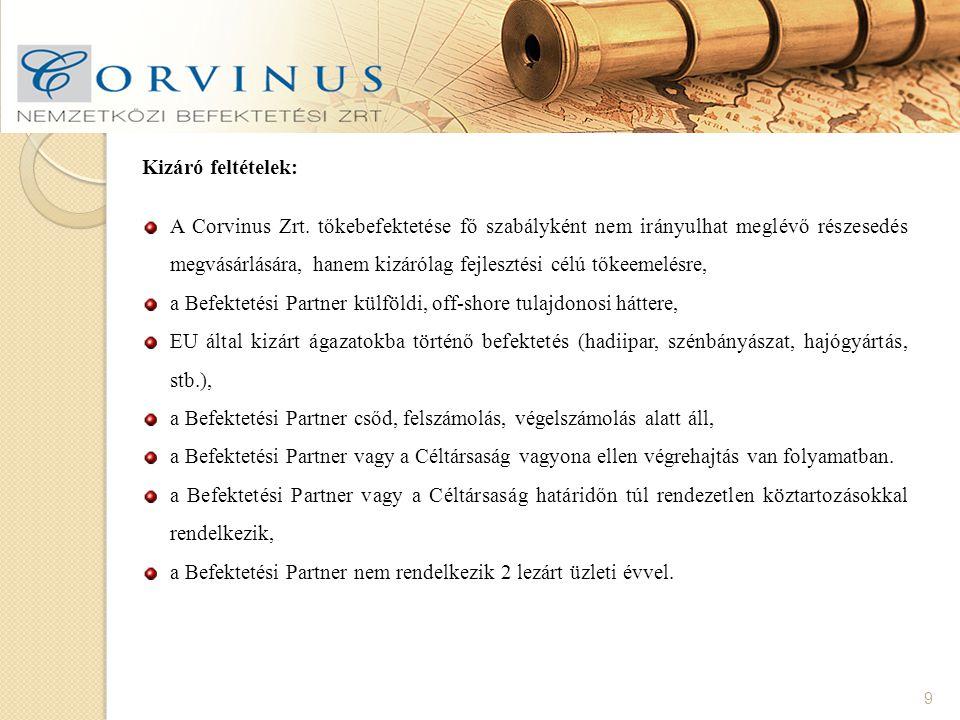 9 Kizáró feltételek: A Corvinus Zrt.