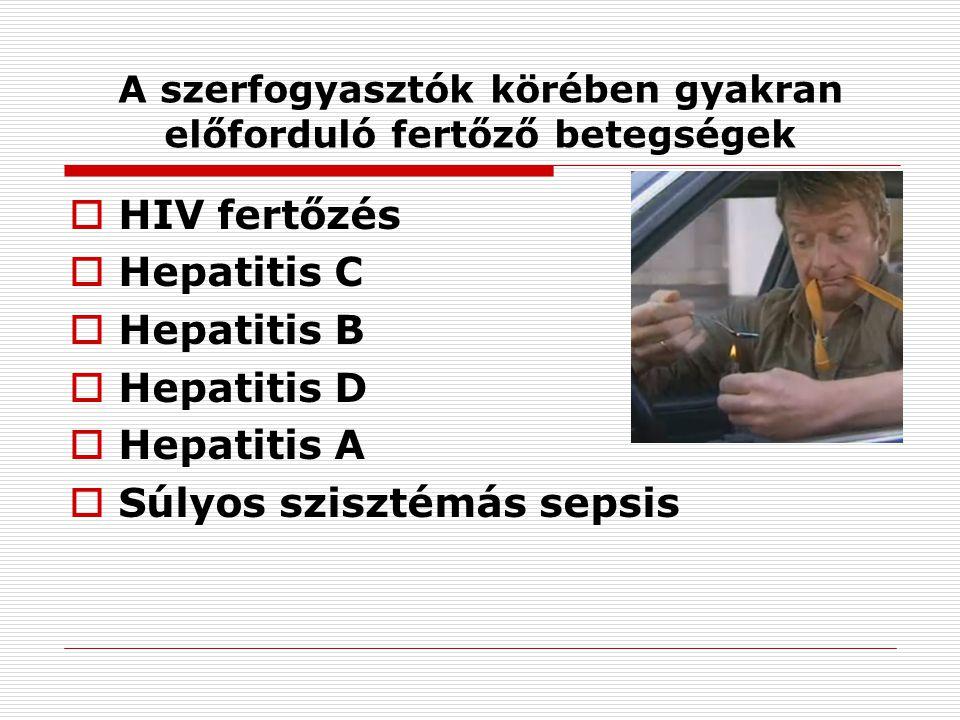 A szerfogyasztók körében gyakran előforduló fertőző betegségek  HIV fertőzés  Hepatitis C  Hepatitis B  Hepatitis D  Hepatitis A  Súlyos sziszté