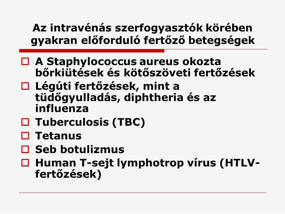 Az intravénás szerfogyasztók körében gyakran előforduló fertőző betegségek  A Staphylococcus aureus okozta bőrkiütések és kötőszöveti fertőzések  Légúti fertőzések, mint a tüdőgyulladás, diphtheria és az influenza  Tuberculosis (TBC)  Tetanus  Seb botulizmus  Human T-sejt lymphotrop vírus (HTLV- fertőzések)