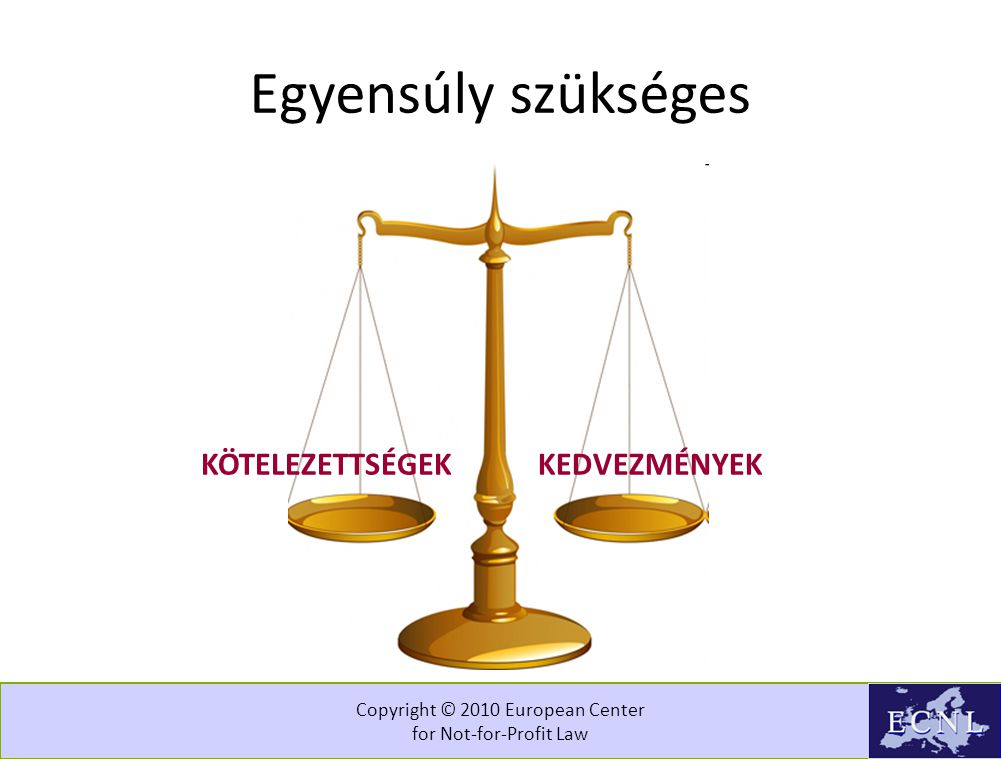 Copyright © 2010 European Center for Not-for-Profit Law Egyensúly szükséges KÖTELEZETTSÉGEKKEDVEZMÉNYEK