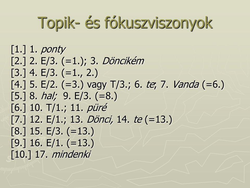 Topik- és fókuszviszonyok [1.] 1.ponty [2.] 2. E/3.