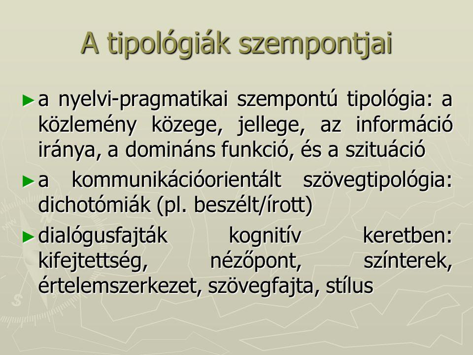 A tipológiák szempontjai ► a nyelvi-pragmatikai szempontú tipológia: a közlemény közege, jellege, az információ iránya, a domináns funkció, és a szituáció ► a kommunikációorientált szövegtipológia: dichotómiák (pl.