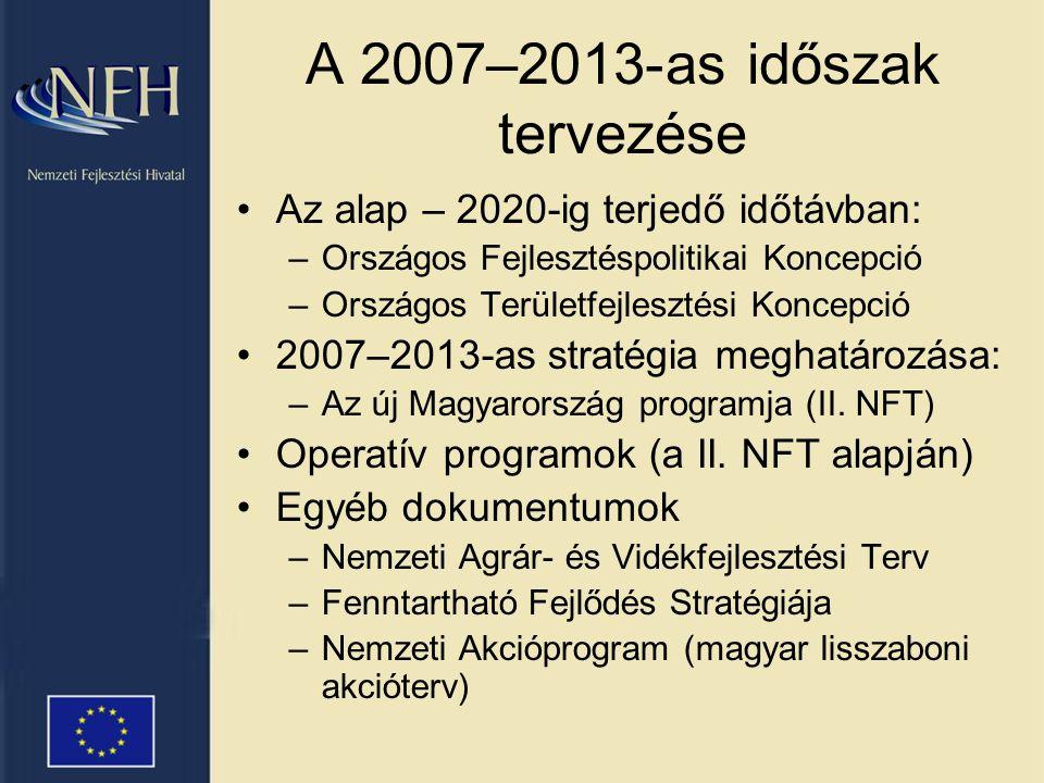 A 2007–2013-as időszak tervezése •Az alap – 2020-ig terjedő időtávban: –Országos Fejlesztéspolitikai Koncepció –Országos Területfejlesztési Koncepció •2007–2013-as stratégia meghatározása: –Az új Magyarország programja (II.