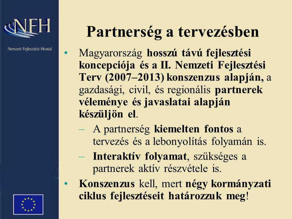 Partnerség a tervezésben •Magyarország hosszú távú fejlesztési koncepciója és a II.