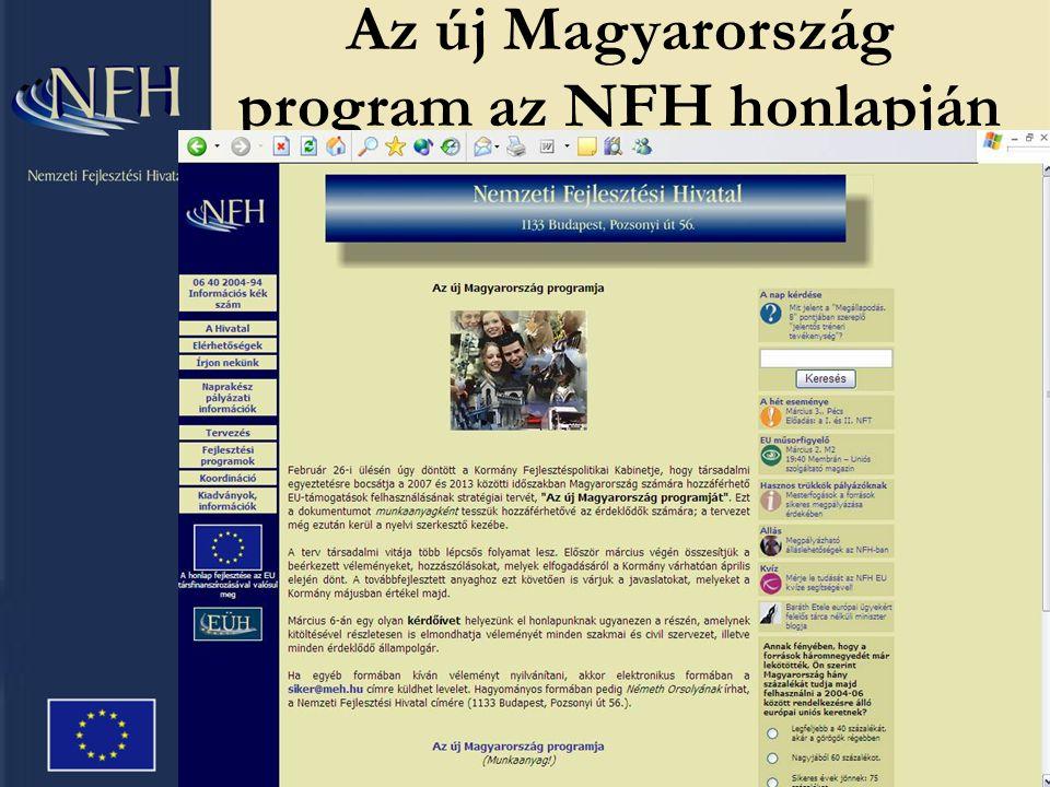 Az új Magyarország program az NFH honlapján