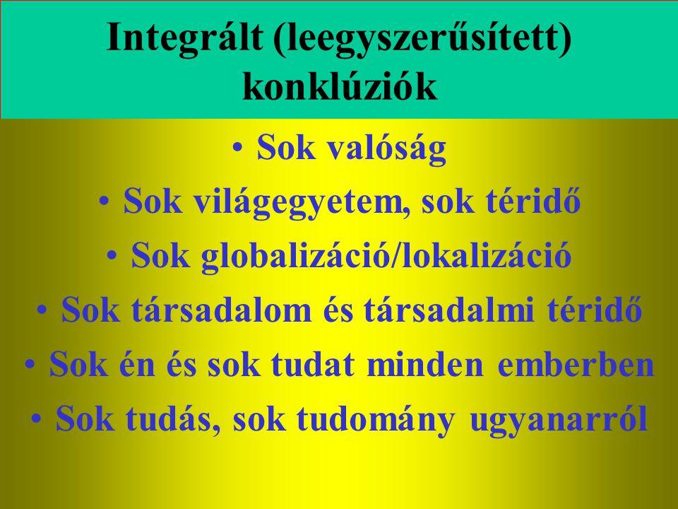 Varga Csaba101 Integrált (leegyszerűsített) konklúziók •Sok valóság •Sok világegyetem, sok téridő •Sok globalizáció/lokalizáció •Sok társadalom és tár